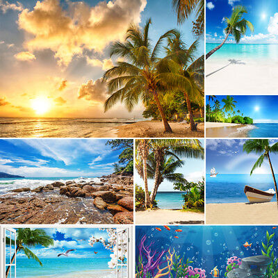 Sea Beach Photography Backdrops Blue Sky White Clouds Photo Studio Background (Sky Backdrop)