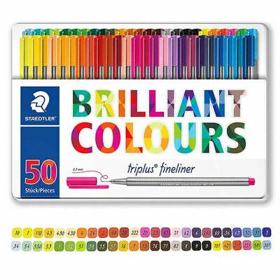 Staedtler Triplus Fineliner 0.3mm Brilliant Colours Ink Pen Metal Tin 50 Colors