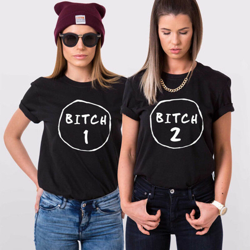 BITCH 01 02 CASUAL BEST FRIENDS FOREVER TUMBLR FASHION FUNNY MENS WOMENS TSHIRT