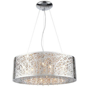 Modern crystal chandelier round drum shade pendant ceiling light