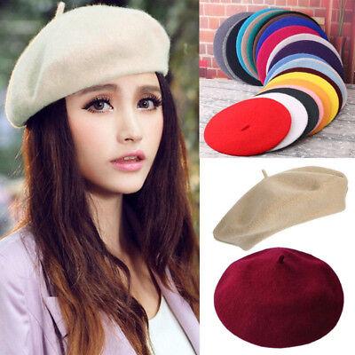 Elegant Sweet Ladies Wool Blend Beret French Artist Warm Classic Beanie Hats