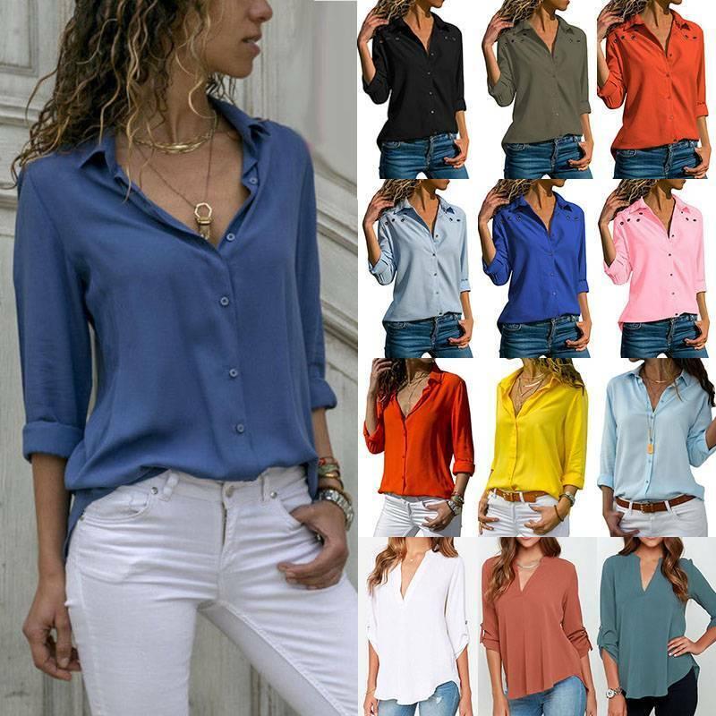 Damen Hemd Bluse Langarmshirt Arbeit OL T-shirts Tops Longsleeve Tunika Oberteil