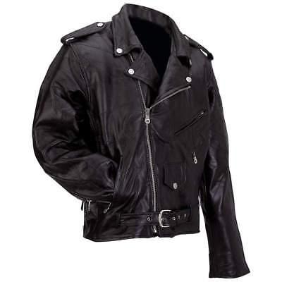Mens Black Leather Motorcycle Biker Jacket Zip out Liner Harley -