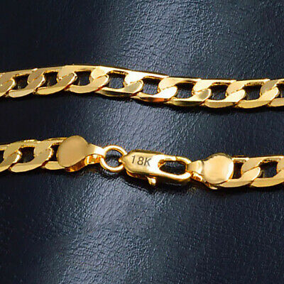 """18k Yellow Gold Mens Womens 20"""" Stylish 8mm Curb Box Link Chain Necklace D262G"""
