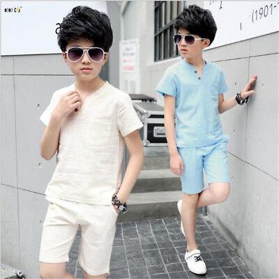 Linen Boys Clothes Sets Summer Short Sleeve Casual Children Sport Suits 2 Piece - Boys Linen Short Suit