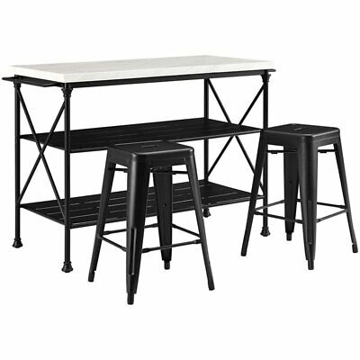Crosley Madeleine Faux Marble Top Kitchen Island with Metal Stools in Black