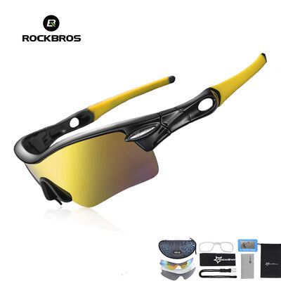3327703313 RockBros Polarized Cycling Sunglasses Bike Goggles Outdoor Sports Glasses  Yellow