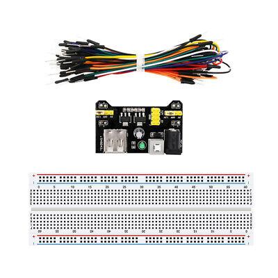 830 Point Solderless Breadboard 65pcs Jumper Cable Mb-102 Power Supply Kbq