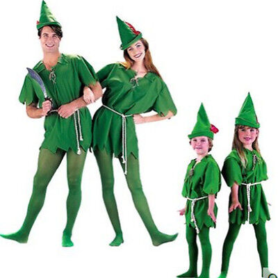 Peter Pan Kid Costume (Adult kids Peter Pan Fancy Dress Costume Robin Hood Outfit Halloween)