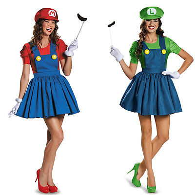 Luigi Damen Kostüme (Super Mario Luigi Bro. Träger Kleid Rock Party Damen Fasching Halloween Kostüme)