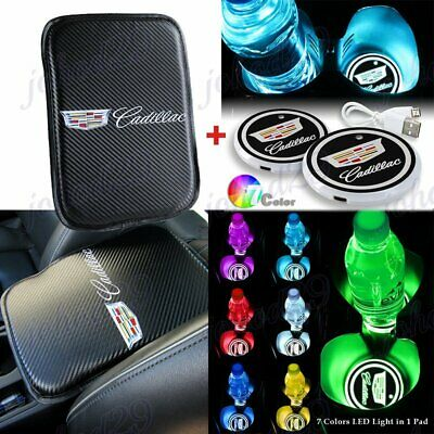 For CADILLAC Car Center Armrest Cushion Pad Cover with LED Cup Coaster Set New