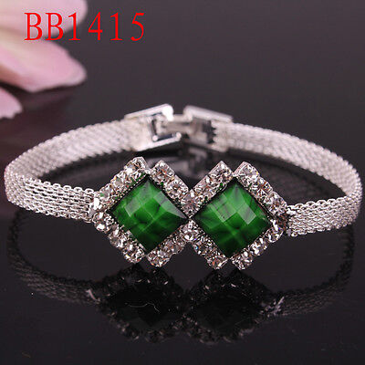 Brilliant 7 inch Czech Crystal &Stone Birthday Gift of Bracelet For Girls BB1415 on Rummage