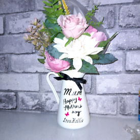 Vintage chabby chic personalised mothersday flower jug flowers inc.