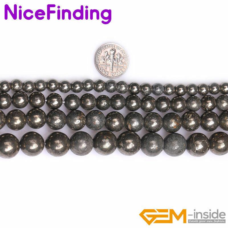 "Natural Gray Pyrite Gemstone Round Strand 15"" 2mm Big Hole Stone 6mm 8mm 10mm"