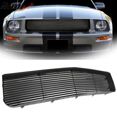 Fits 05-09 Ford Mustang V6 Black ABS Hood Grille Grill 1Pc
