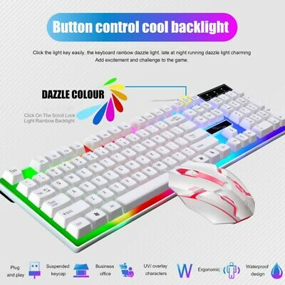 NEW! Wired LED Backlit Ergonomic Gaming Keyboard + Gamer Mou
