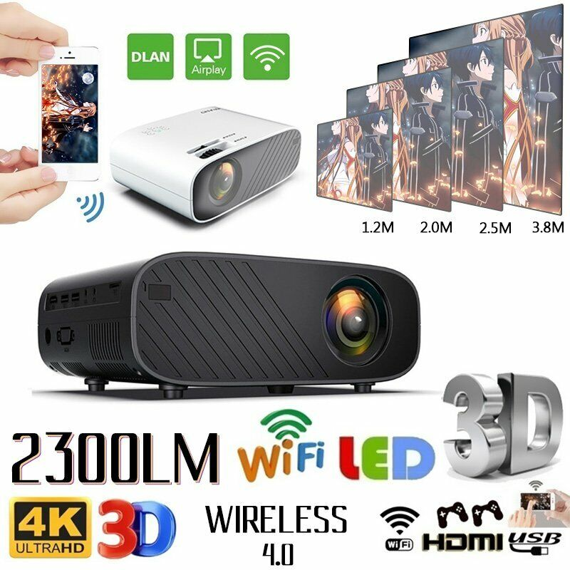 LED Smart Home Theater Projector Wifi 18000Lumens 1080p HD 3D Movie HDMI USB