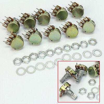 10x B10k Ohm Linear Taper Rotary Potentiometer Panel Pot Shaft Nuts Washers 15mm
