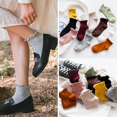 1 Pair Women Cotton Socks Ankle Casual Socks Solid Color Breathable Cute Solid Color Ankle Socks