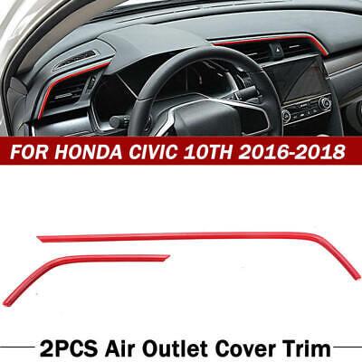 2Pc ABS Auto Car Air Outlet Frame Cover Trim For Honda Civic 10th 2016-20 JJS