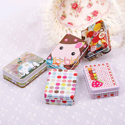 Cute Fashion Rectangular Iron Card Decor Tin Storage Bag Small Jewelry Box OCUK
