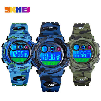 White Teen Boy (Kid Child Boy Digital Watch Multifunction Sport Waterproof Camouflage)