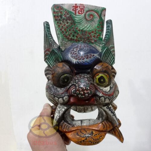 "China Folk Art Wood Hand Carved Painted NUO MASK Walldecor-PanGu Deity 10""tall"