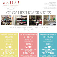 Decluttering & Organizing help COUPONS (Home, Office & Business)