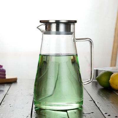 1.5/1.8L Clear Glass Pitcher Stainless Steel Lid Ergonomics Water Ice Tea Carafe