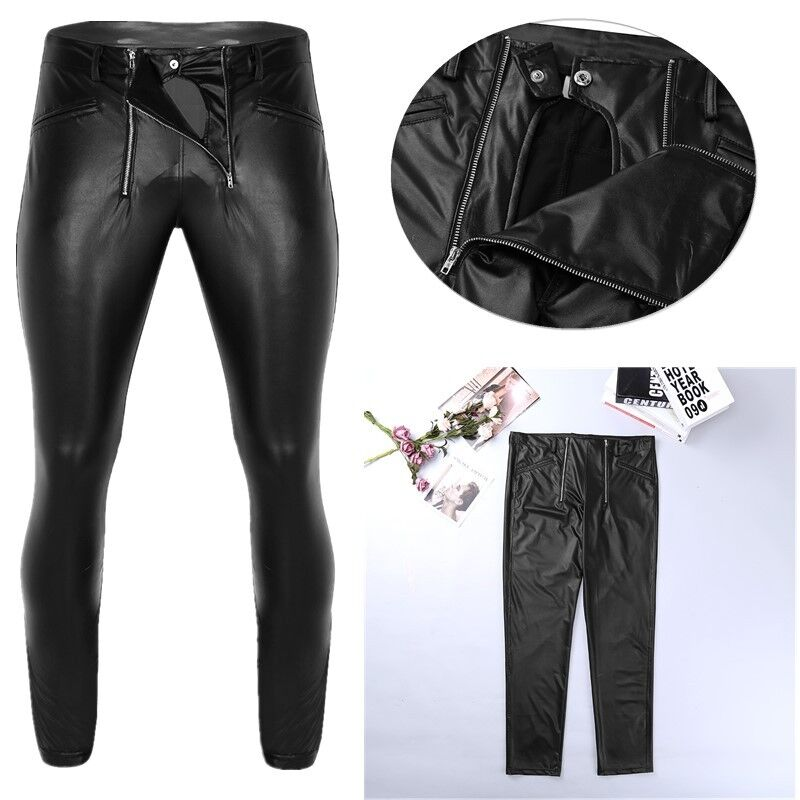 Men PU Slim Pants Pencil Trousers Long Zip Low Waist Faux Leather Wet Look Shiny