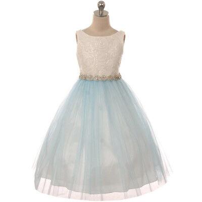 Baby Blue Flower Girl Dresses (IVORY BABY BLUE Flower Girl Dress Graduation Birthday Prom Formal Wedding Gown )