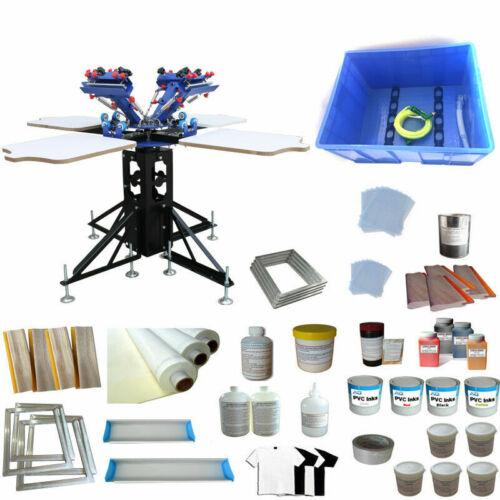4 Color 4 Station Silk Screen Printing Kit Printer & Supply Package DIY Full Set