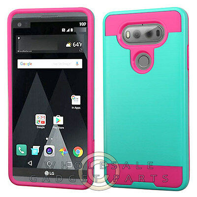 LG V20 Brushed 2 Piece Hybrid Case - Teal Green/Hot Pink Protector Guard (Blue Shield Protector Case)