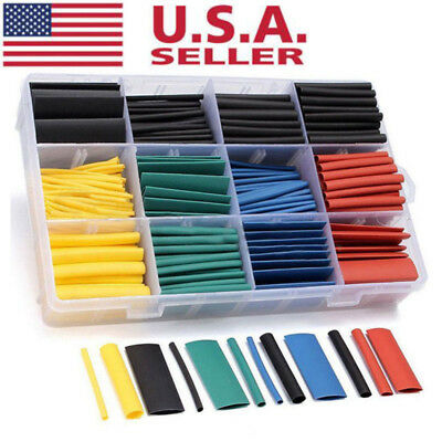 530pcs 2:1 Heat Shrink Tube Tubing Sleeving Wrap Wire Assorted Kit 5 Color JKHWC