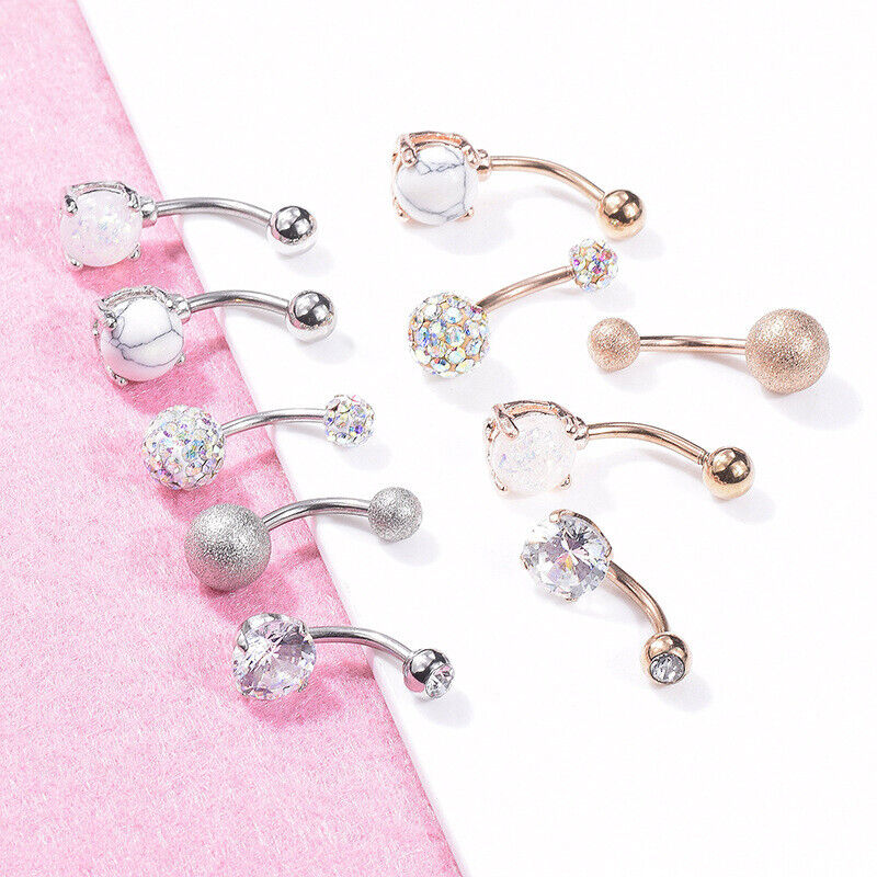 5pcs Navel Button Rings Medical Steel Crystal Belly Piercing Body Accessories
