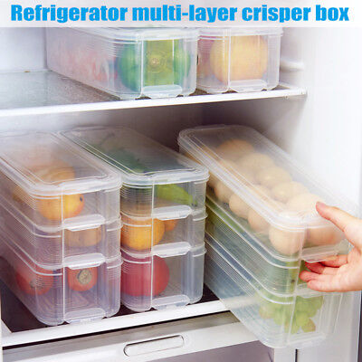 1pc Plastic Storage Bins Refrigerator Food Containers with L