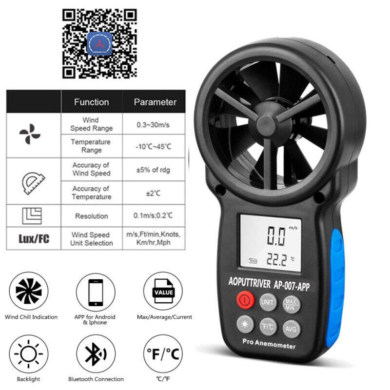 Bluetooth Anemometer Handheld Wireless Anemometer Wind Speed Meter with Backlit