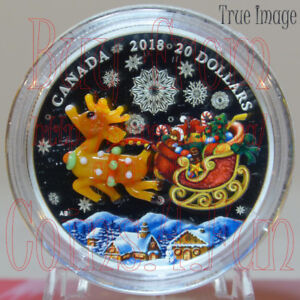 2018 Holiday Reindeer $20 Venetian Murano Glass Pure Silver Coin