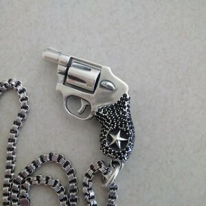 """king baby revolver pendal with italy 925 chain 34"""""""
