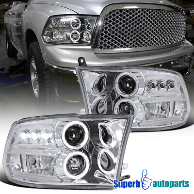 For 2009-2018 Dodge Ram 1500 2500 3500 Dual LED Halo Projector Headlights