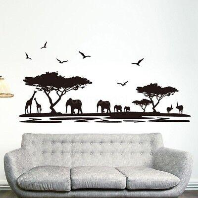 African Safari Wall Sticker Jungle Wild Animal Mural Decal Sticker Cool (Wild Animals Wall)