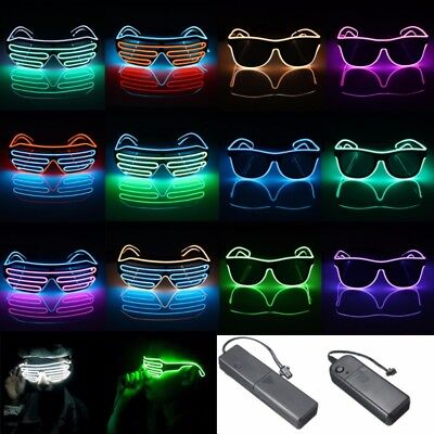 Neon El Wire LED Sound Control Light Up Shutter Shaped Glasses Eyewear Costume - Shutter Glasses