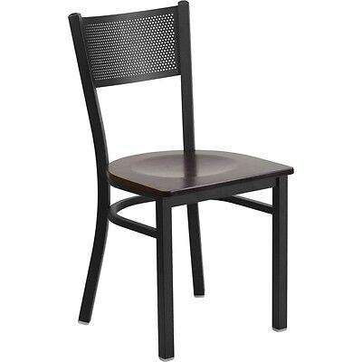 Hercules Series Black Grid Back Metal Restaurant Chair - Walnut Wood Seat
