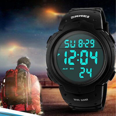 Men's Digital Sports Watch LED Screen Large Face Military Waterproof -