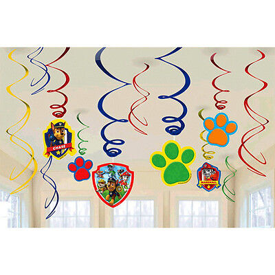 12 Paw Patrol Swirl Hanging Decorations Ceiling Dangler Birthday Party Supplies