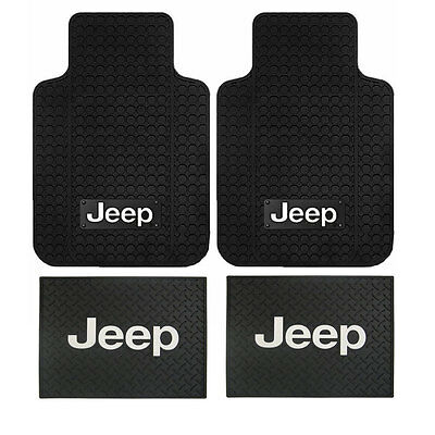 New Jeep Factory Logo All Weather Heavy Duty Rubber Front  Back Floor Mats Set
