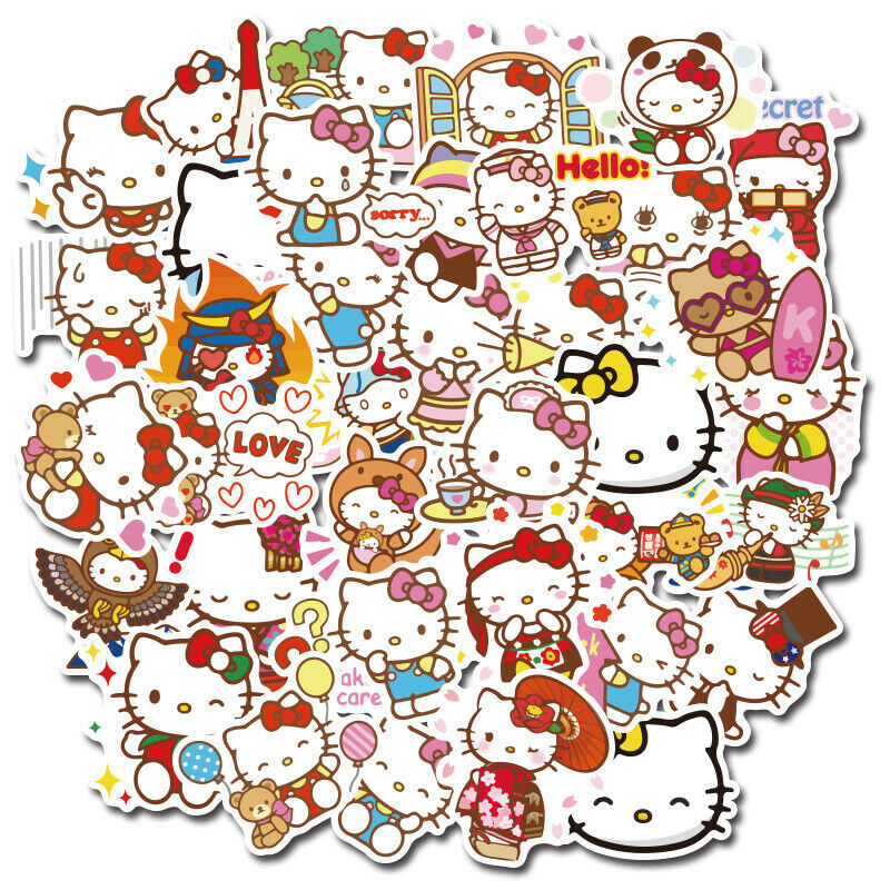 Home Decoration - 100pc No repeat lovely Hello kitty Stickers Luggage Decal Ornament Mark