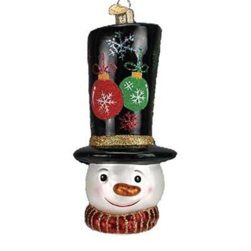 GLISTENING TIP TOP HAT SNOWMAN OLD WORLD CHRISTMAS GLASS ORNAMENT NWT 24117