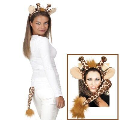 GIRAFFEN - SET Haarreif & Schwänzchen Kostüm Zubehör - Karneval Fasching