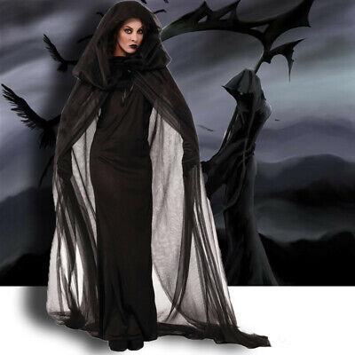 Vampire Witch Halloween Costumes (Halloween Costume Adult Women Cape Cloak Witch Robe Death Vampire Sorce)